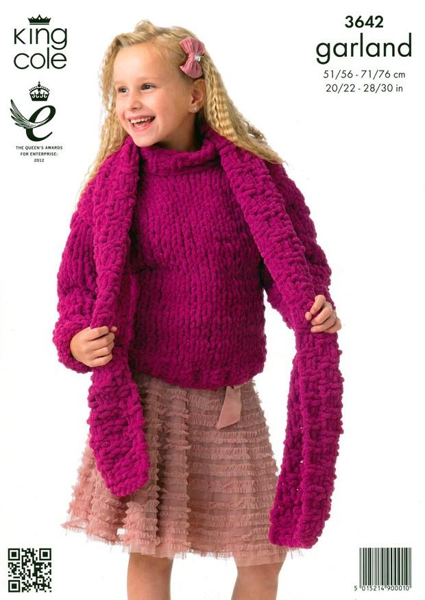 3642 King Cole Garland Sweater Cardigan Scarf Hat Knitting Pattern